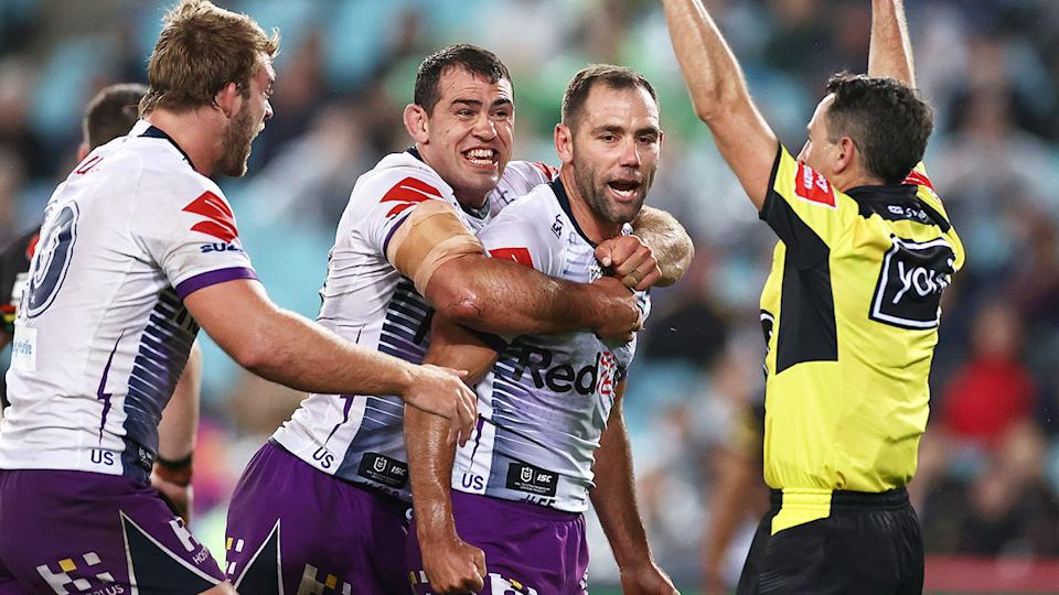 Seen here, Cameron Smith scored a try in what could be his final game.