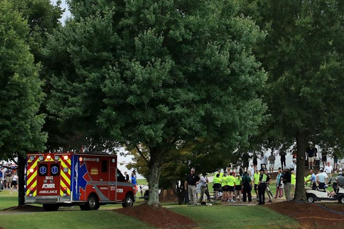 """<h1 class=""""title"""">TOUR Championship - Round Three</h1> <div class=""""caption""""> ATLANTA, GEORGIA - AUGUST 24: An ambulance arrives to provide medical assistance after a lightning strike during a suspension of the third round due to inclement weather of the TOUR Championship at East Lake Golf Club on August 24, 2019 in Atlanta, Georgia. (Photo by Streeter Lecka/Getty Images) </div> <cite class=""""credit"""">Streeter Lecka</cite>"""