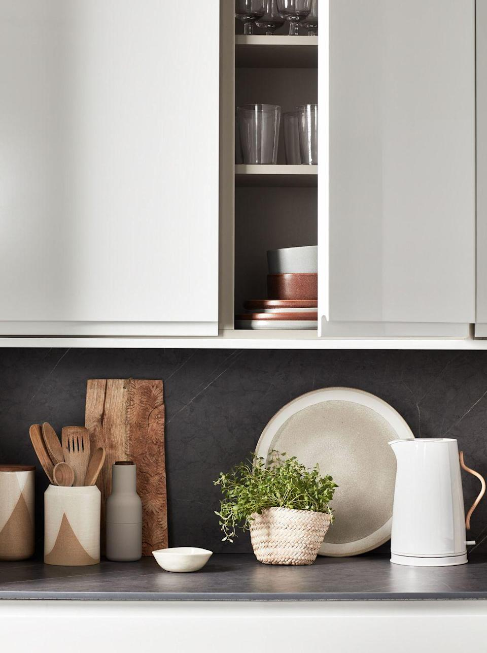 """<p>A grey and white kitchen is a perennially popular colour combination. White kitchens can sit happily with shades of grey, from deep charcoals for a rich contrast, to light blue/greys for a bright and airy colour scheme. <br></p><p>Pictured: <a href=""""https://go.redirectingat.com?id=127X1599956&url=https%3A%2F%2Fwww.homebase.co.uk%2Fkitchens%2Fkitchen-ranges%2Fbermondsey.list&sref=https%3A%2F%2Fwww.housebeautiful.com%2Fuk%2Fdecorate%2Fkitchen%2Fg37409102%2Fwhite-kitchen%2F"""" rel=""""nofollow noopener"""" target=""""_blank"""" data-ylk=""""slk:House Beautiful Bermondsey Kitchen at Homebase"""" class=""""link rapid-noclick-resp"""">House Beautiful Bermondsey Kitchen at Homebase</a></p>"""