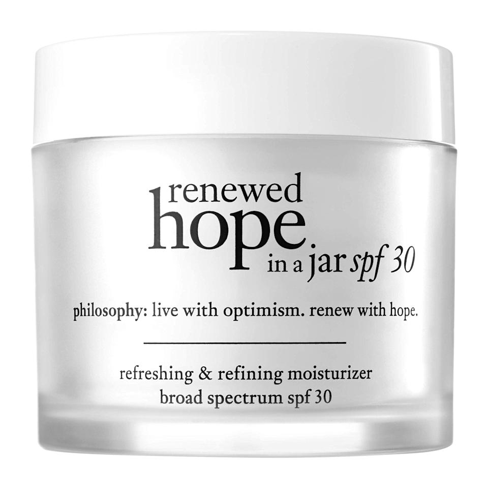 """<h2>Philosophy</h2><br>30% off select products<br><br><strong>Philosophy</strong> Renewed Hope In A Jar Moisturizer, $, available at <a href=""""https://amzn.to/3zQ1hQc"""" rel=""""nofollow noopener"""" target=""""_blank"""" data-ylk=""""slk:Amazon"""" class=""""link rapid-noclick-resp"""">Amazon</a>"""