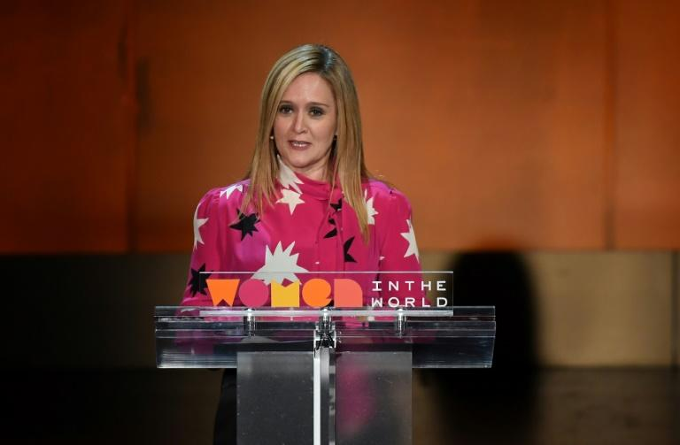 """US President Donald Trump has provided a ratings boom for comedians like Samantha Bee and her weekly show """"Full Frontal with Samantha Bee"""" on TBS"""
