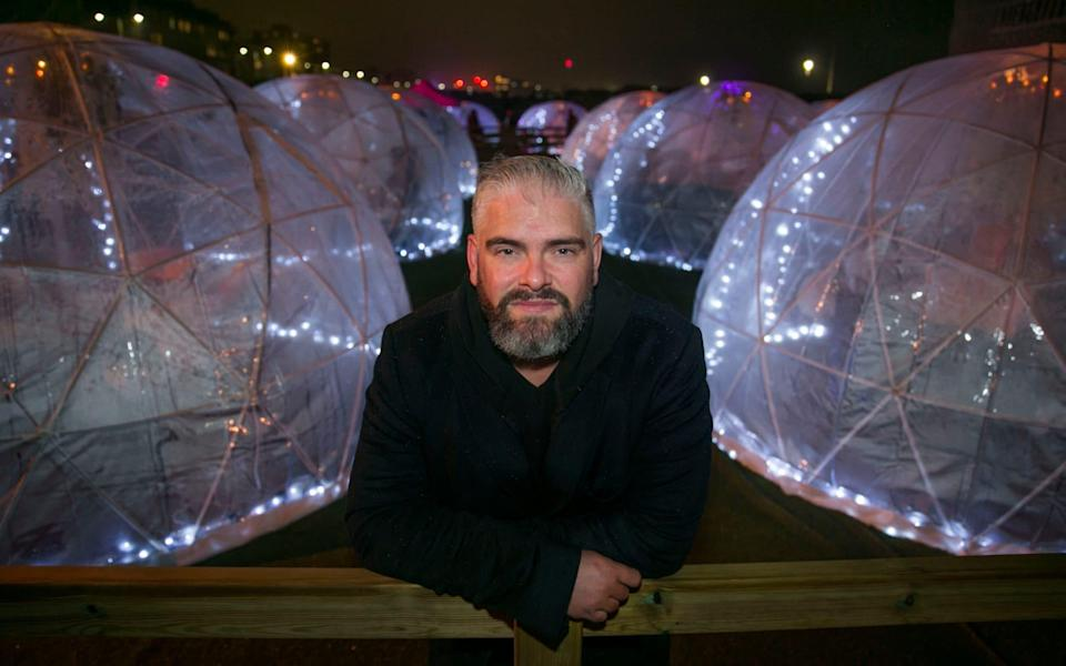 Luke Davis and the futuristic-looking Rockwater Igloo Village with 30 pods on the seafront at Hove opened Friday night offering table service - Brighton Pictures