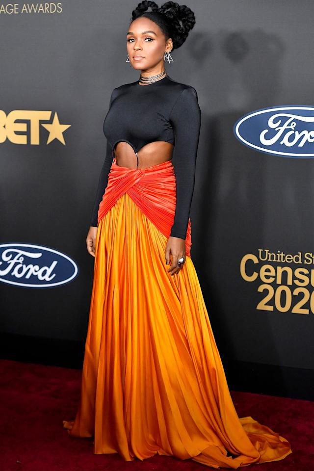 <p>Who: Janelle Monáe </p><p>When: February 22, 2020</p><p>Wearing: Balmain</p><p>Why: We're used to seeing Janelle Monáe in monochromatic black-and-white, but she boldly took on color at the NAACP Awards and we want <em>more</em>. From the daring cutouts to the skirt's sunrise color combo, she wins best dressed of the week. </p>