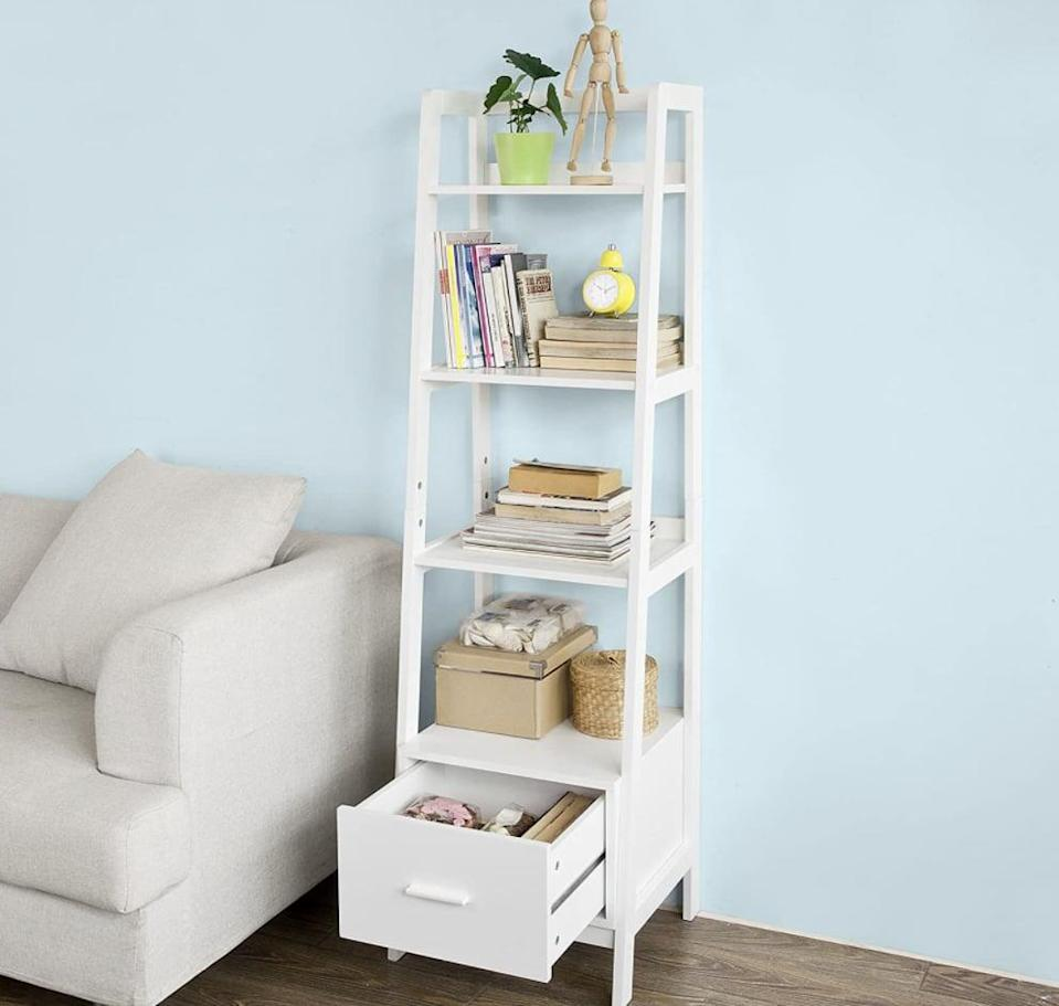 <p>Reviewers of the <span>Haotian White Modern Ladder Bookcase</span> ($100, originally $110) comment on how great it is for small spaces.</p>