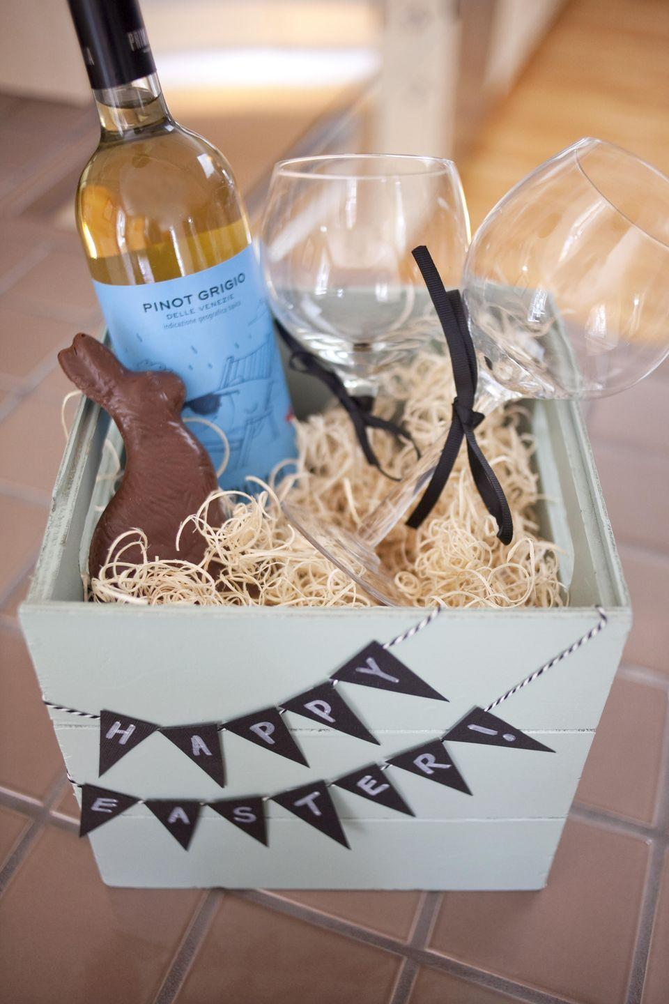 "<p>For a couple, an Easter basket that contains the perfect pair: <a href=""https://www.oprahdaily.com/life/food/g27412334/cheap-wine-brands/"" rel=""nofollow noopener"" target=""_blank"" data-ylk=""slk:wine"" class=""link rapid-noclick-resp"">wine</a> and chocolate. </p><p>Get the tutorial at <a href=""https://www.paperandcake.com/grown-easter-basket/"" rel=""nofollow noopener"" target=""_blank"" data-ylk=""slk:Paper and Cake."" class=""link rapid-noclick-resp"">Paper and Cake.</a></p><p><a class=""link rapid-noclick-resp"" href=""https://www.amazon.com/PARACITY-Glasses-Goblets-Crystal-Stemware/dp/B08GKNR1QL/?tag=syn-yahoo-20&ascsubtag=%5Bartid%7C10072.g.30506642%5Bsrc%7Cyahoo-us"" rel=""nofollow noopener"" target=""_blank"" data-ylk=""slk:SHOP WINE GLASSES"">SHOP WINE GLASSES</a></p>"