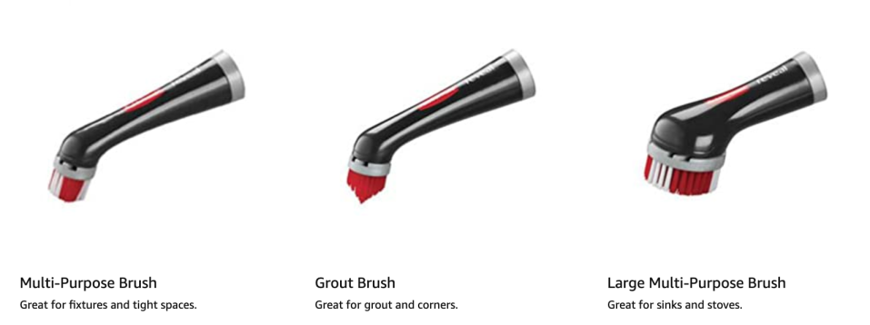 The Rubbermaid Reveal Power Scrubber has three different attachment styles - but is sold with the 1/2 inch multi-purpose brush. The rest are sold separately.