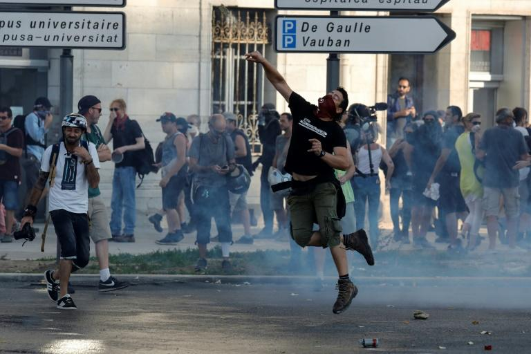 A protest in southern French city Bayonne, where police have been deployed en masse