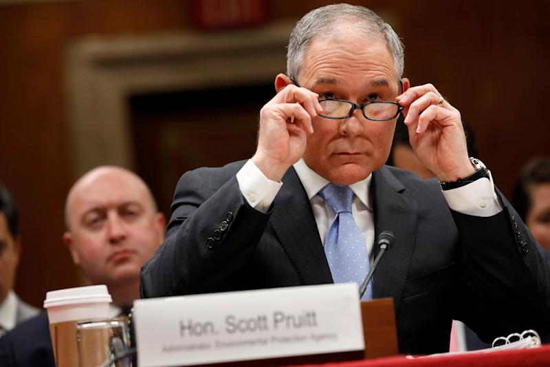 Environmental Protection Agency Administrator Scott Pruitt testifies before a Senate Appropriations Subcommittee on Capitol Hill in Washington, U.S., June 27. (Photo: Aaron Bernstein / Reuters)