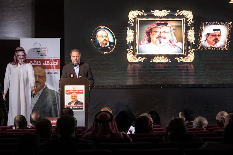 A man speaks during a commemorative ceremony for Jamal Khashoggi on 11 November in Istanbul