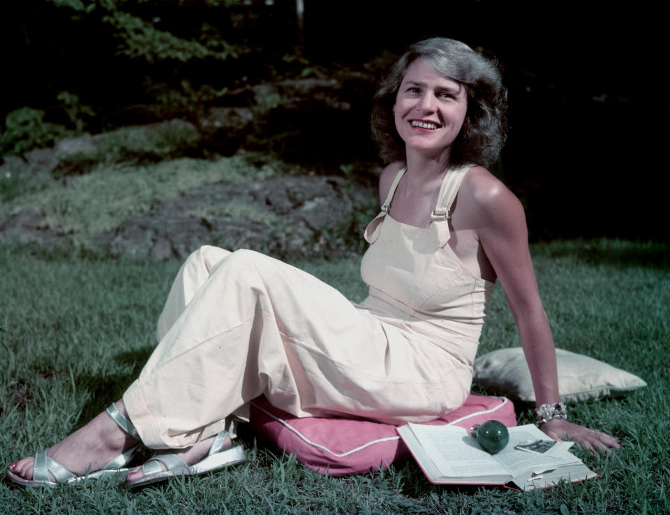 Life magazine photographer Margaret Bourke-White, sitting on a cushion in the grass, 1954.(Photo by Alfred Eisenstaedt/The LIFE Picture Collection via Getty Images)