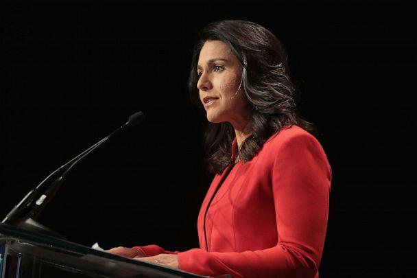 PHOTO: Democratic presidential candidate and Hawaii congresswoman Tulsi Gabbard speaks at the Iowa Democratic Party's Hall of Fame Dinner on June 9, 2019, in Cedar Rapids, Iowa. (Scott Olson/Getty Images)