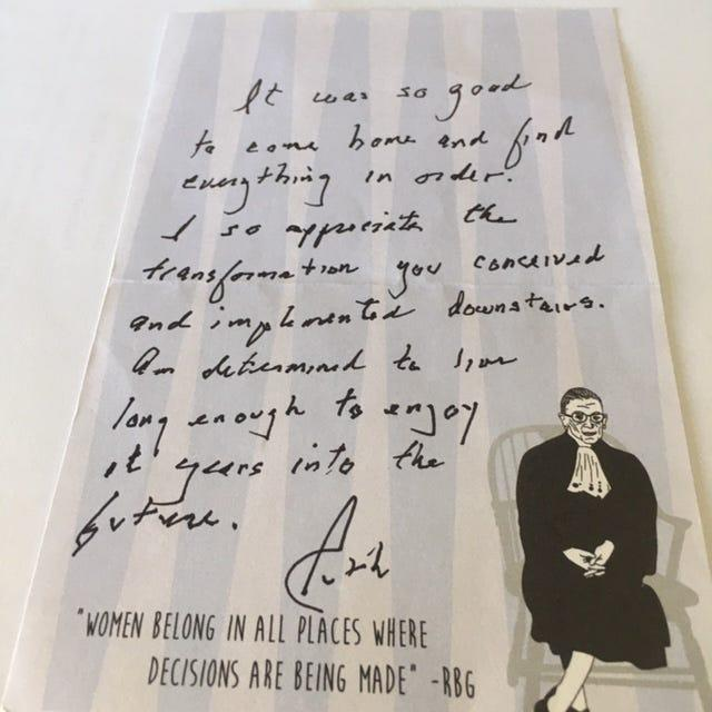 A note from Ruth Bader Ginsberg to her designer, Bronnie Adams