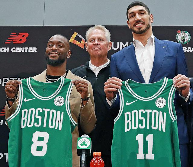 The Celtics introduced free-agent signings Kemba Walker and Enes Kanter on Wednesday. (Getty Images)