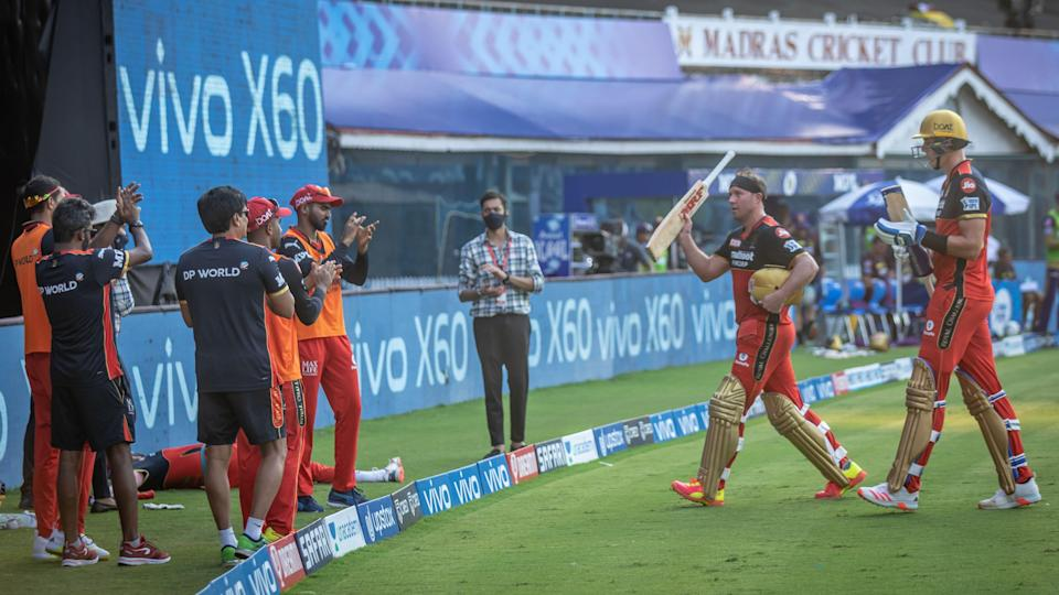 AB de Villiers walking off after his brilliant half-century against KKR in Chennai.