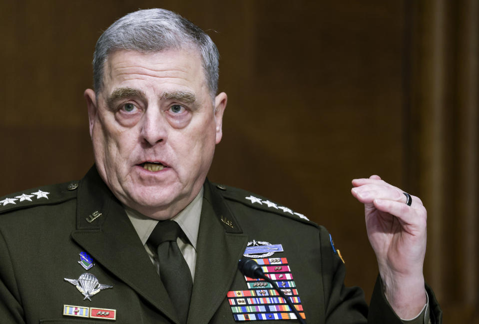 Chairman of the Joint Chiefs Chairman Gen. Mark Milley testifies before a Senate Appropriations Committee hearing, Thursday, June 17, 2021, on Capitol Hill in Washington. (Evelyn Hockstein/Pool via AP)