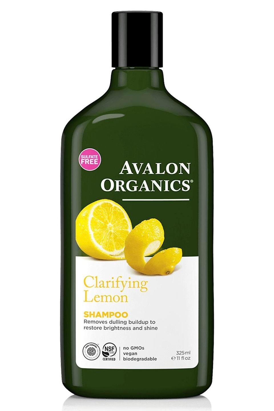 "<p><strong>Avalon Organics</strong></p><p>target.com</p><p><strong>$7.19</strong></p><p><a href=""https://www.target.com/p/avalon-hair-shampoos-11-fl-oz/-/A-48638444"" rel=""nofollow noopener"" target=""_blank"" data-ylk=""slk:Shop Now"" class=""link rapid-noclick-resp"">Shop Now</a></p><p>Build-up from hard water, <a href=""https://www.cosmopolitan.com/style-beauty/beauty/advice/g1417/best-dry-shampoo/"" rel=""nofollow noopener"" target=""_blank"" data-ylk=""slk:dry shampoo"" class=""link rapid-noclick-resp"">dry shampoo</a>, and styling products can make your hair look super dull. Luckily, this organic shampoo contains<strong> clarifying lemon extract to deep-clean your hair and scalp </strong>(without depleting your natural oils) and bring back shine and softness.</p>"
