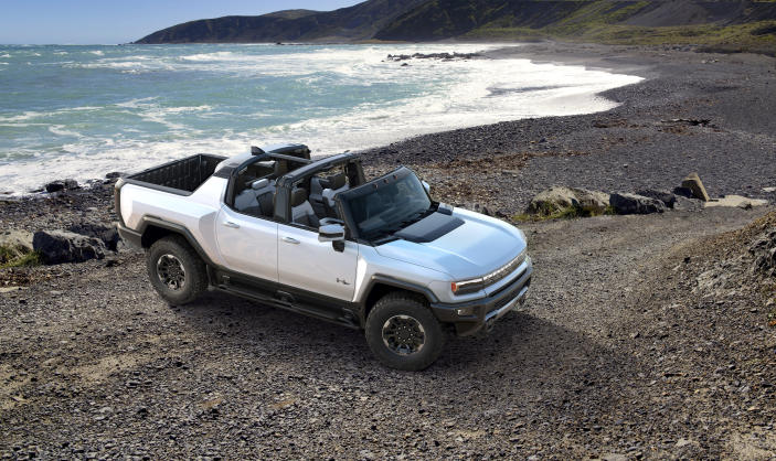 This undated photo provided by General Motors shows the 2022 GMC Hummer EV, an electric SUV that promises 1,000 horsepower via three electric motors. (General Motors via AP)