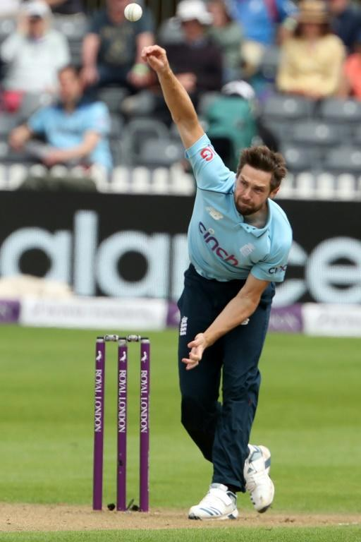 Early breakthrough - England's Chris Woakes in action during the third ODI against Sri Lanka
