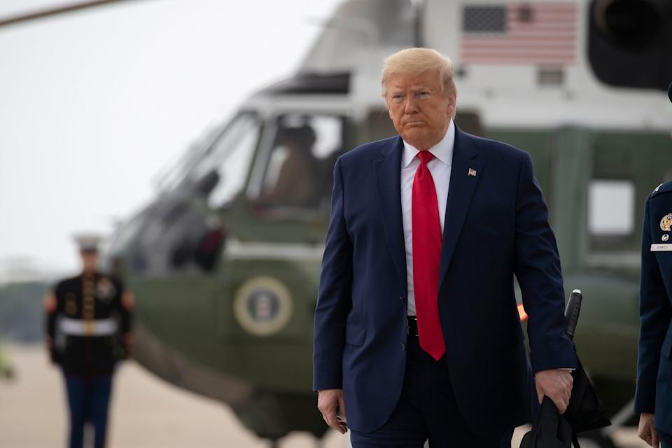 President Donald Trump walks to board Air Force One, Thursday, June 11, 2020, at Andrews Air Force Base, Md.