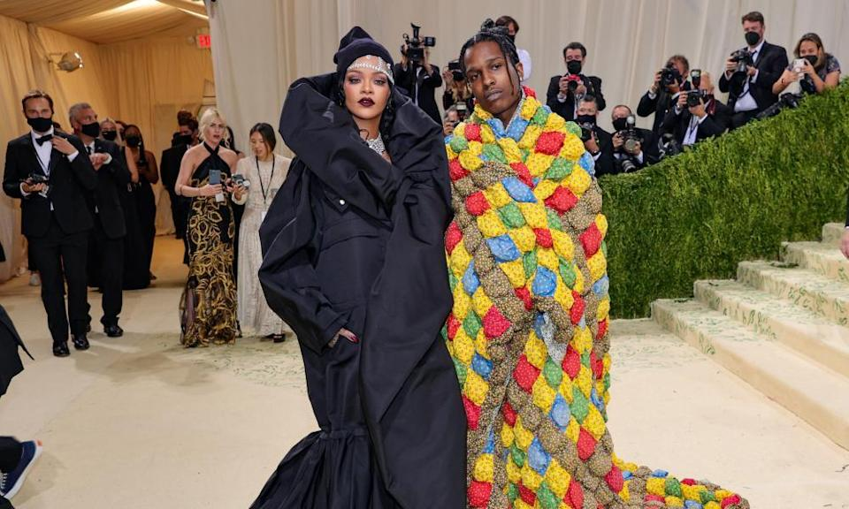 Rihanna and A$AP Rocky attend the 2021 Met Gala.