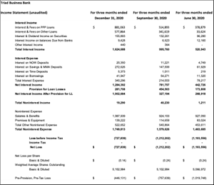 Triad Business Bank Income Statement