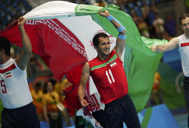 2016 Rio Paralympics - Sitting Volleyball - Final - Men's Gold Medal Match - Riocentro Pavilion 6 - Rio de Janeiro, Brazil - 18/09/2016. Ramezan Salehihajikolaei (IRI) of Iran celebrates. REUTERS/Ueslei Marcelino FOR EDITORIAL USE ONLY. NOT FOR SALE FOR MARKETING OR ADVERTISING CAMPAIGNS.