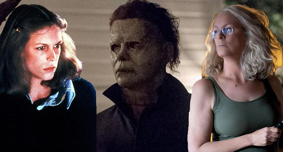 Jamie Lee Curtis as Laurie Strode in <i>Halloween</i> 1978 and <i>Halloween</i> 2018 (Universal Pictures/Rex)