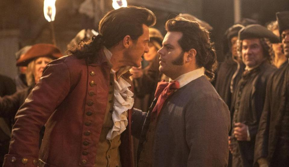 Luke Evans and Josh Gad as Gaston and LeFou (Credit: Disney)