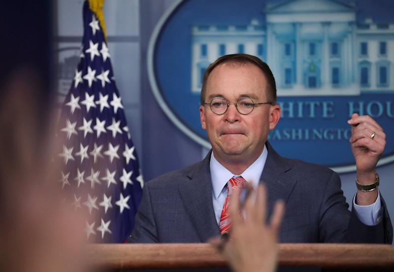 Acting White House chief of staff Mick Mulvaney answers questions from reporters at the White House on Thursday. (Photo: Leah Millis / Reuters)