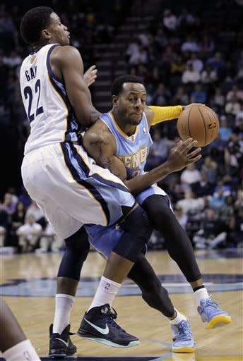 Denver Nuggets' Andre Iguodala, right, is guarded by Memphis Grizzlies' Rudy Gay (22) during the first half of an NBA basketball game in Memphis, Tenn., Monday, Nov. 19, 2012. (AP Photo/Danny Johnston)