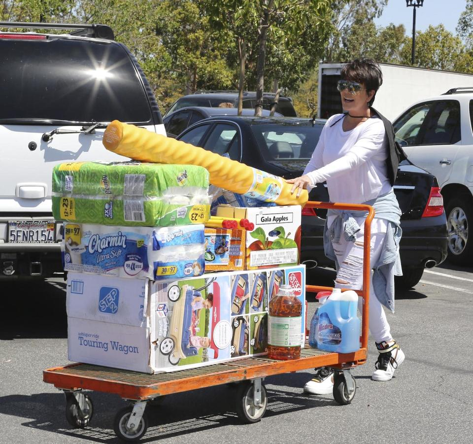 """<p><span>When you're the momager of the century, you have the world at your fingertips. But for Kris Jenner, the No. 1 way to relax isn't a form of pampering, it's bargain shopping. In an </span><a rel=""""nofollow noopener"""" href=""""https://www.nytimes.com/2015/05/10/magazine/where-would-the-kardashians-be-without-kris-jenner.html?_r=1"""" target=""""_blank"""" data-ylk=""""slk:interview"""" class=""""link rapid-noclick-resp""""><span>interview</span></a><span> with the </span><i><span>New York Times M</span></i><span><em>agazine</em>, Jenner deemed her trips to Costco a sacred way to unwind. """"</span><span>Costco is a passion,"""" she said. """"Costco is like a massage.""""</span><br>(Photo: Splash) </p>"""