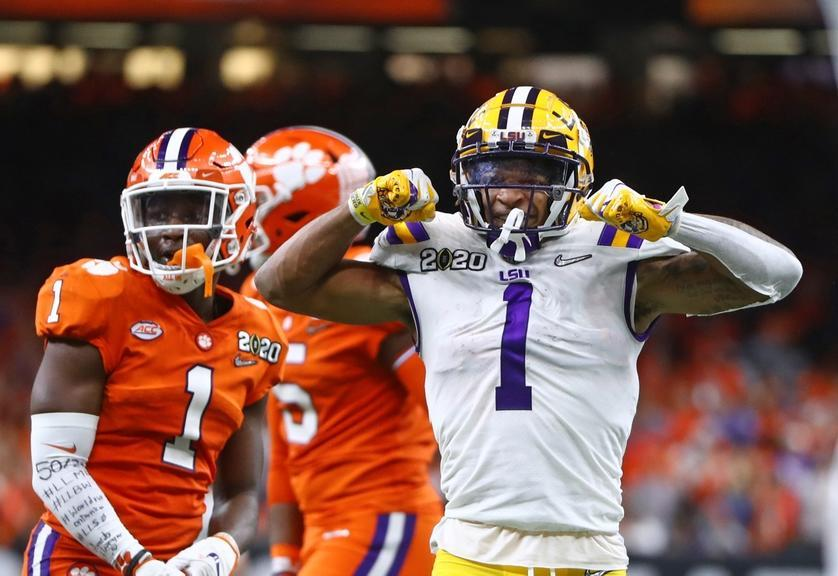 Jan 13, 2020; New Orleans, Louisiana, USA; LSU Tigers wide receiver Ja'Marr Chase (1) celebrates a play against the Clemson Tigers in the College Football Playoff national championship game at Mercedes-Benz Superdome.