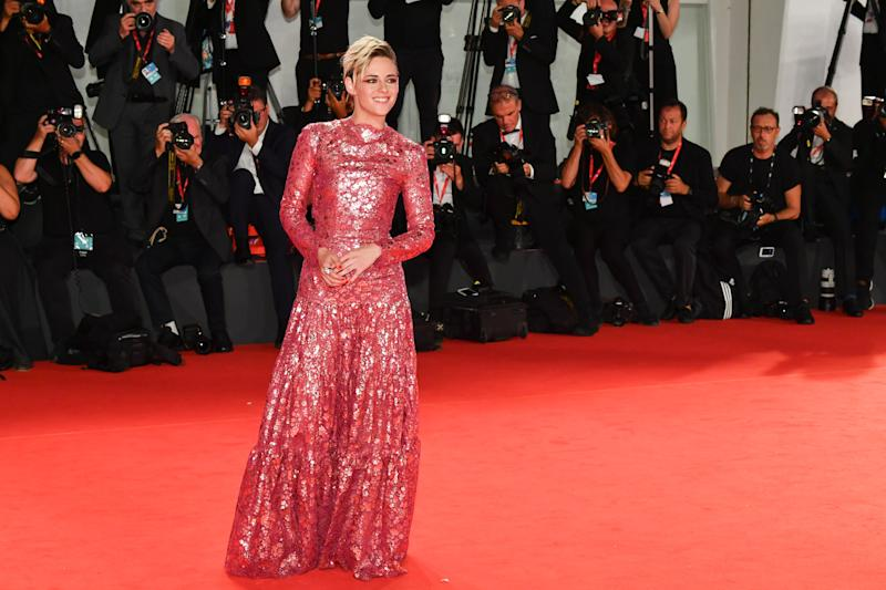 "VENICE, ITALY - AUGUST 30: Kristen Stewart walks the red carpet ahead of the ""Seberg"" screening during during the 76th Venice Film Festival at Sala Grande on August 30, 2019 in Venice, Italy. (Photo by Dominique Charriau/WireImage)"