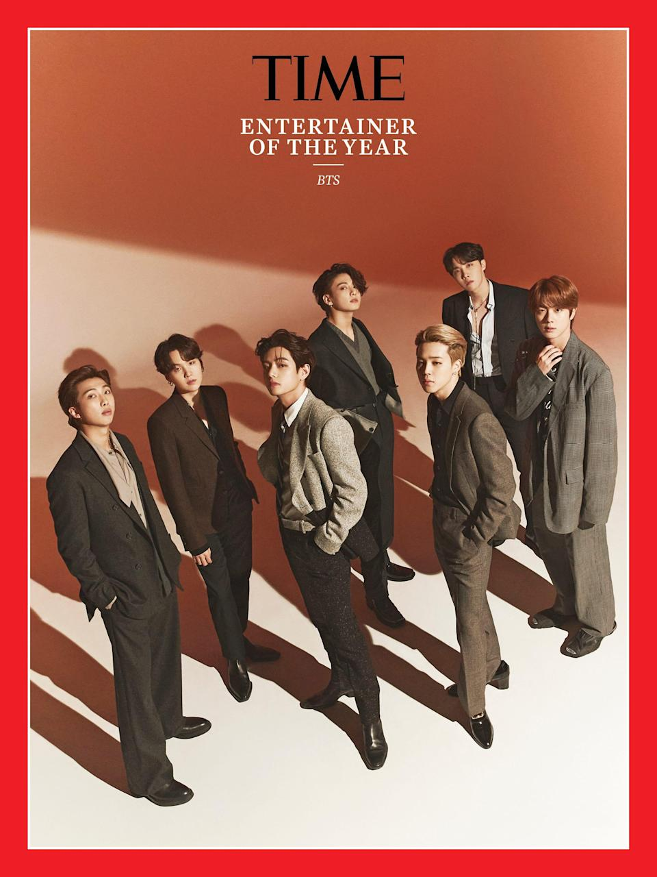 Time magazine's 2020 Entertainer of the Year cover featuring BTS.