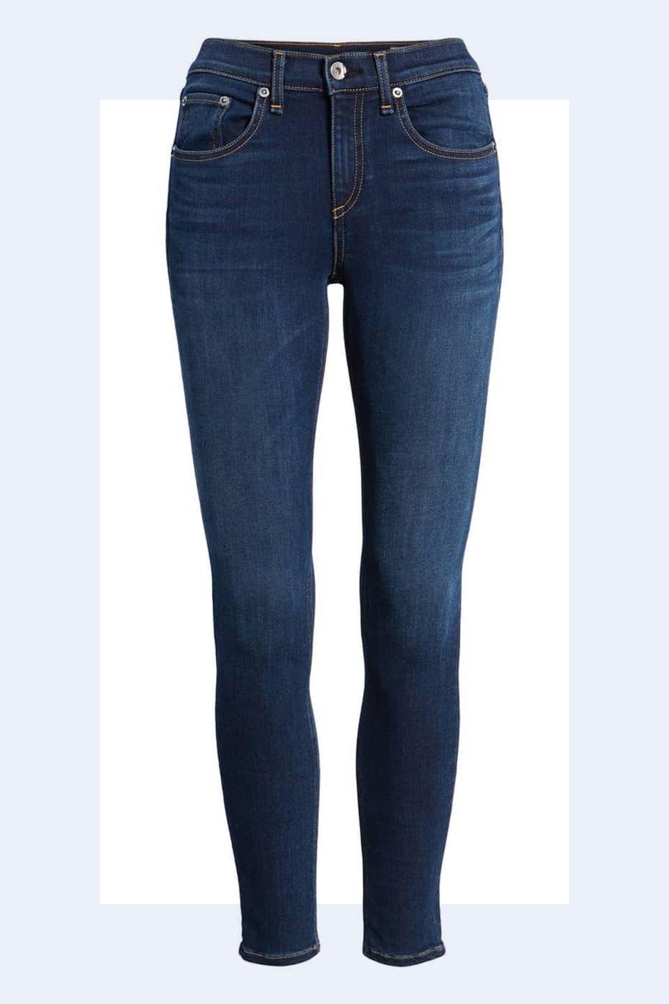 """<p><a rel=""""nofollow noopener"""" href=""""https://shop.nordstrom.com/s/rag-bone-jean-ankle-skinny-jeans-bloo-moon/4932701?origin=keywordsearch-personalizedsort&breadcrumb=Home%2FAll%20Results&color=bloo%20moon"""" target=""""_blank"""" data-ylk=""""slk:SHOP NOW"""" class=""""link rapid-noclick-resp"""">SHOP NOW</a> <em>Rag & Bone Jeans, $116.98</em></p><p>""""Dark denim is more polished whereas a light denim reads a bit more casual. In a professional setting, dark denim is a safe choice but <strong>more important</strong> than the wash of the denim <strong>is the fit.</strong>"""" -<em><a rel=""""nofollow noopener"""" href=""""http://theonly.agency/negar-ali-kline"""" target=""""_blank"""" data-ylk=""""slk:Negar Ali Kline"""" class=""""link rapid-noclick-resp"""">Negar Ali Kline</a></em></p>"""