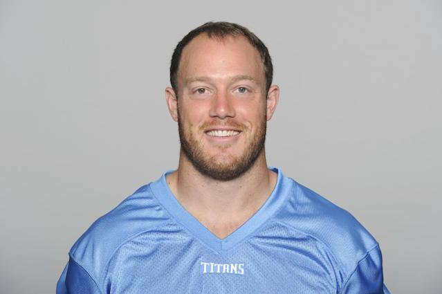 FILE - This is a 2013 file photo showing Tim Shaw of the Tennessee Titans NFL football team. Former NFL linebacker Tim Shaw has announced that he has ALS. In a 25-second video posted Tuesday, Aug. 19, 2014, on the Titans' web site, the 30-year-old Shaw reveals he was recently diagnosed with ALS and pours a bucket of ice water on his head as part of the Ice Bucket Challenge to raise money and awareness to battle the disease. (AP Photo/File)