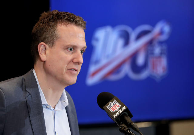Hans Schroeder, Executive Vice President and Chief Operating Officer of NFL Media, speaks during the annual NFL football owners meetings, Monday, March 25, 2019, in Phoenix. (AP Photo/Matt York)