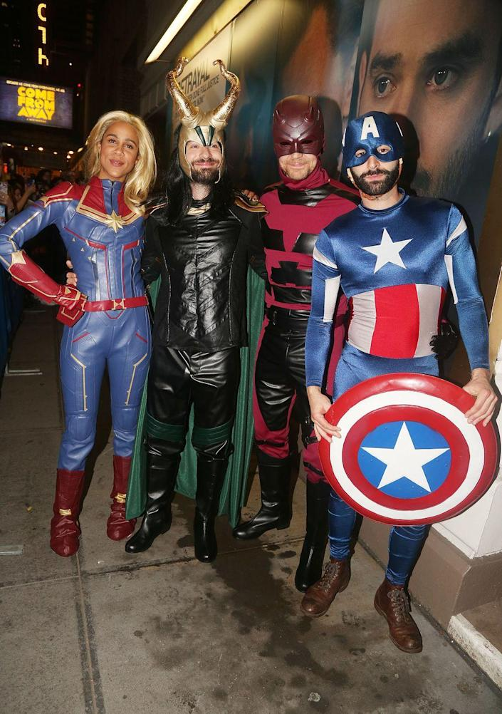 """<p>Take on Marvel's Avengers as Captain Marvel, Loki, Daredevil, and Captain America (or any of the other many Avengers in the MCU). </p><p><a class=""""link rapid-noclick-resp"""" href=""""https://www.amazon.com/Helmet-Ragnarok-Halloween-Cosplay-Costume/dp/B091TBQ2FM?tag=syn-yahoo-20&ascsubtag=%5Bartid%7C10070.g.3083%5Bsrc%7Cyahoo-us"""" rel=""""nofollow noopener"""" target=""""_blank"""" data-ylk=""""slk:SHOP LOKI HELMET"""">SHOP LOKI HELMET</a></p>"""