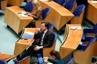 Debate over remarks the Dutch Prime Minister Mark Rutte made during talks to form a new government following the March 17 national elections, in The Hague