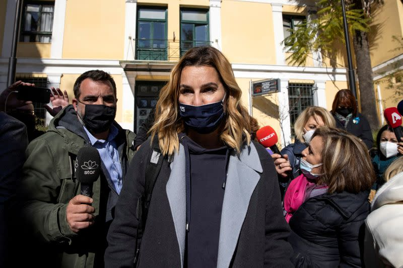 FILE PHOTO: Olympic sailing champion Sofia Bekatorou leaves the prosecutor's office in Athens