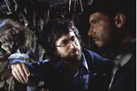 <p>Ford with director Steven Spielberg on the set of <em>Raiders of the Lost Ark</em>.</p>