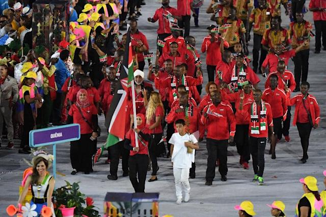 The Kenyan delegation parades during the opening ceremony of the Rio 2016 Olympic Games on August 5, 2016 (AFP Photo/Pedro Ugarte)