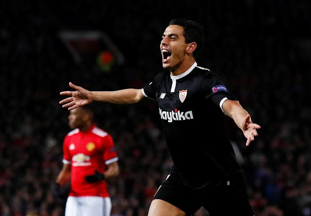 Soccer Football – Champions League Round of 16 Second Leg – Manchester United vs Sevilla – Old Trafford, Manchester, Britain – March 13, 2018 Sevilla's Wissam Ben Yedder celebrates scoring a goal Action Images via Reuters/Jason Cairnduff