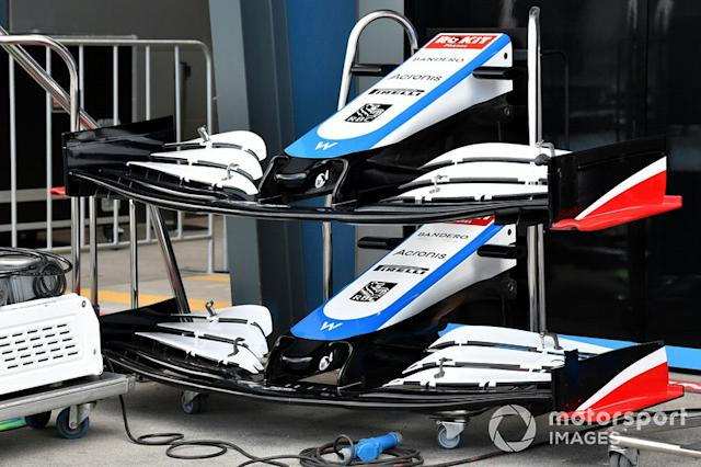 """Spare WIlliams front wings and noses <span class=""""copyright"""">Mark Sutton / Motorsport Images</span>"""