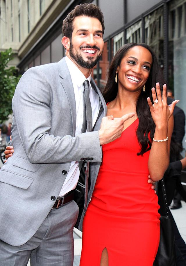 "<p>After ""Bachelorette"" Lindsay and Abasolo were engaged in the show's season finale, they did the usual round of TV interviews, including one at <em>AOL Live</em>. Now they're free to live happily ever after, just like all the other <em>Bachelor </em>couples. Oh, wait… (Photo: RW/MediaPunch/IPX) </p>"