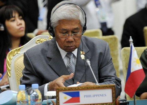 Philippines Defence Minister Voltair Gazmin takes part in the ASEAN Defence Ministers' meeting