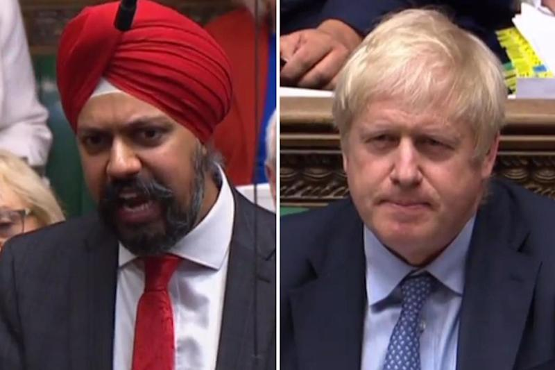 Boris Johnson was asked to apologise by Labour MP Tanmanjeet Singh Dhesi: AFP