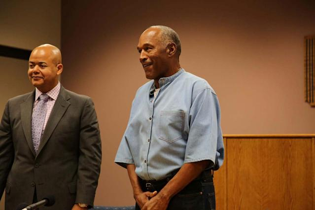 <p>O.J. Simpson (R) arrives for his parole hearing with attorney Malcolm LaVergne at Lovelock Correctional Centre in Lovelock, Nevada, U.S. July 20, 2017. (Sholeh Moll/Nevada Department of Transportation/Handout via Reuters) </p>
