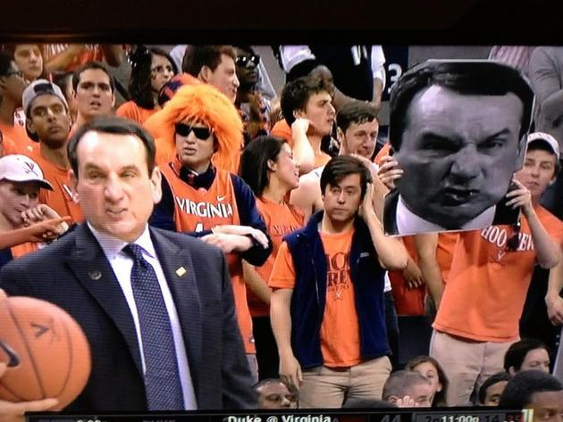 Duke coach Mike Krzyzewski apparently doesn't switch up the facial expressions from one game to the next