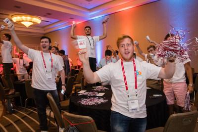 Tau Kappa Epsilon members and alumni celebrate the fraternity's new commitment to raise $10 million in 10 years for St. Jude Children's Research Hospital.